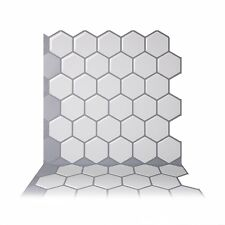 Tic Tac Tiles - Premium 3d Peel & Stick Wall Tile in Hexa Mono White(5 Sheets)