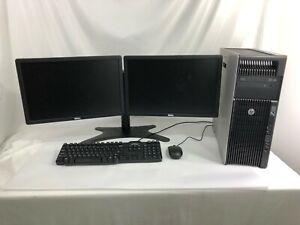 "HP Z620 WorkStation Computer w/ Dual 19"" Monitors Xeon 8 Core 16GB RAM PC SSD"