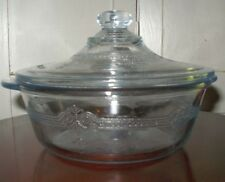 "Fire King Individual Casserole Dish 5 1/2"" Philhe Pattern Sapphire Blue with Lid"