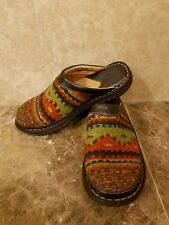 BORN Southwest Navajo Indian Blanket Wool Leather Women's Clogs Mules Shoes  6