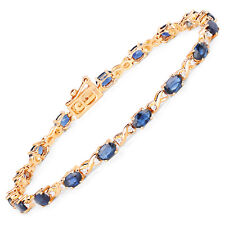 5.31 ct Bracelet 14K Yellow Gold Blue Sapphire Diamond Genuine Gemstone 7 inches