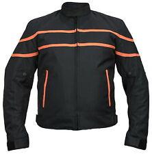 Textil Motorrad Jacke mit Protektoren Biker Custom Winddicht Schwarz/Orange