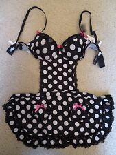 New Women's XOXO Black & White Polka Dot SEXY Maid Lingerie Teddie Size Small