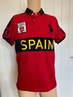 "Polo Ralph Lauren Mens Shirt Size M Medium Short Sleeve Red Spain 20"" Vintage"