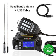 Radioddity QB25 Pro Quad Band Mobile Car Radio VHF UHF 25W w/ Quad Band Antenna