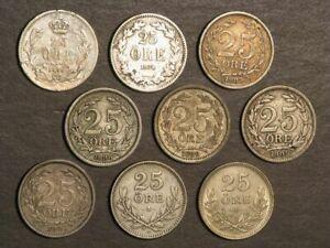 SWEDEN 1856/1874/1875/1898/1899/1904/1907/1914/1932 25 Ore Silver - 9 Coins