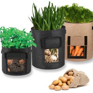 4/10/15Gallon Felt Grow Bag Potato Tomato Plant Bag Garden Vegetable Planter Pot
