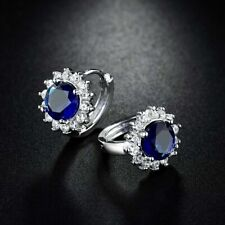 18k White Gold Sapphire Blue and White crystal Stud Earrings 321