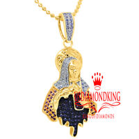 14K Yellow Gold On Silver Lady of Guadalupe Mother Mary Pendant Charm Chain Set