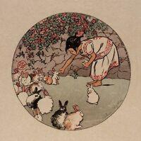 Feeding the Bunnies : Helen Hyde : circa 1912  Art Print Suitable for Framing
