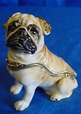 JULIANA TREASURED TRINKETS PUG DOG METAL TRINKET BOX 15344