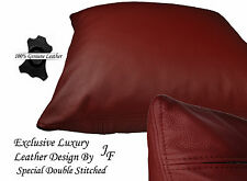 """1X DARK RED EXCLUSIVE LUXURY GENUINE LEATHER CUSHION DOUBLE STITCHED 20"""" x 20"""""""