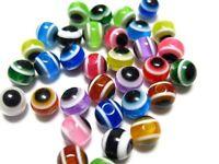 200 Mixed Colour Acrylic Kabbalah Evil Eye Ball Round Beads 6mm