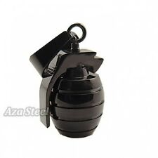 """Black Grenade Stainless Steel Pendant with 21"""" Chain Necklace"""