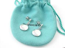 Tiffany & Co Silver RARE Round Circle Disc Dangle Dangling Earrings