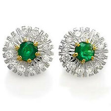 RUSSIAN STYLE DIAMOND AND EMERALD EARRINGS 14K GOLD. #E731