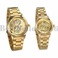 Men Women Luxury Dragon CZ Dial Gold Stainless Steel Analog Couple Quartz Watch