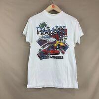 "Vintage Mens LG 1987 Providence R.I. ""World of Wheels"" Auto Graphic T-Shirt Tee"