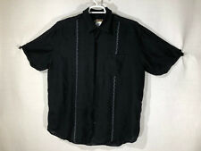 Mens Cubavera XL Black Striped Short Sleeve Button Front Bowling Shirt Sheen
