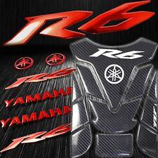 "Real Carbon Fiber Custom Fuel Tank Pad+6"" 3D Logo+for YZF-R6/R6S Emblem Sticker"