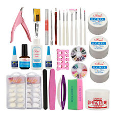 Pro Nail Art UV Gel DIY Kits Tools & 7 Brush Nail Tips Set Glue Rhinestone Block