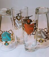 Mid Century 60's Cocktail Glasses Coat of Arms Lion Sword Shield Vintage Barware