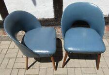 2 COCKTAILSESSEL blaues Kunstleder ROCKABILLY um 1955/ 60 Mid Century Clubsessel