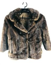 1940s Helen Atkins Mink Fur Coat ART DECO Womens LARGE Brown Double Breasted