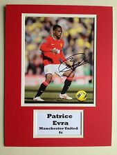 """Manchester United Patrice Evra Signed 16"""" X 12"""" Double Mounted Display"""