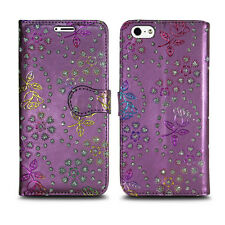 for Apple iPhone 6 6s PU Leather Wallet Book Flip Phone Luxury Pouch Case Cover Metallic Flower Purple - Glitter Embossed Twinkle