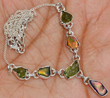 'Solid 925'' Sterling Silver Ethiopian Opal Rough & Moldavite Necklace SN18216