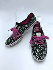 Kate Spade Keds 8 Black White Pink Lace Love Graffiti Canvas Shoes Sneakers