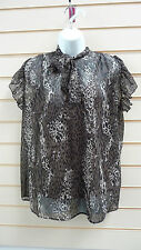 LADIES TOP BROWN SIZE 14 ANIMAL PRINT EVENING TWINSET BNWT