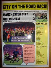 Manchester City 2 Gillingham 2 - 1999 play-off final - souvenir print