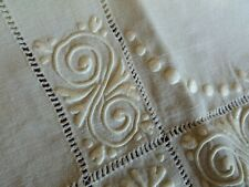 Gorgeous Vintage Art Deco Linen Tablecloth Hand Embroidered Drawnwork Mono LCF