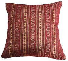 Wd32Ba Gold Light Gold Grey Stripe on Wine Red Cotton Cushion Cover/Pillow Case