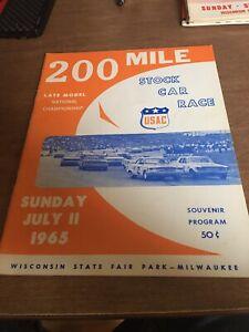 1965 July 11th USAC Stock Car Racing Program Milwaukee Mile State Fair Park