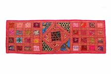 Table Top Runner Indian Tapestry Embroidered Patchwork Vintage Wall Hanging
