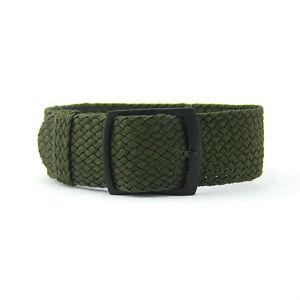 22mm Premium Dark Olive Braided Nylon Perlon Watch Strap (Black Buckle)