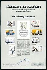 BRD KÜNSTLER-ETB 1988/2 JAKOB KAISER KÜNSTLER-ERSTTAGSBLATT LTD. EDITION