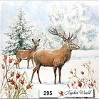 (295) TWO Individual Paper LUNCHEON Decoupage Napkins DEER WINTER SNOW BUCK DOE