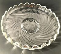 "FOSTORIA BOWL FLOATING GARDEN COLONY CURLED SCALLOPED EDGE. 11 1/4"" VINTAGE"
