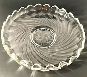 """FOSTORIA BOWL FLOATING GARDEN COLONY CURLED SCALLOPED EDGE. 11 1/4"""" VINTAGE"""