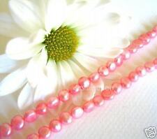 """sp05 Fresh Water Pearl Button Loose Beads, Pink 6mm15"""""""