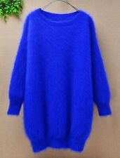 Mohair angora fur royal blue knitted knit sweater jumper lux