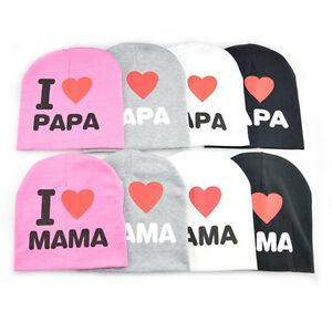 I Love MAMA PAPA Kids Baby Warm Hat Boys Girls Cute Soft Cap Cotton Beanie Hats