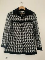 Ladies Tayberry Cardigan M/12 Black White Long Sleeve Acrylic <JS1298