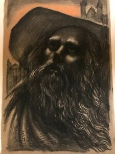 """Vintage JOSEF M. KOZAK Original Work of Art """"PORTRAIT Of A MAN"""" Signed Unframed"""
