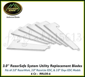 """OUTDOOR EDGE 3.0"""" RazorSafe System Utility Replacement Blades 6 Ct RRU30-6"""
