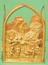 Vintage French Gilt Bronze Candle Holder Dutch Village Scenes Intricate Designs